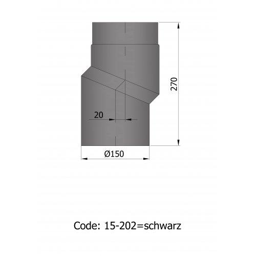 Ø 150 S-bøjning/forsatte røgrør - uisoleret