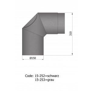 Ø 150 uisolerede bøjninger 2 x 45gr.