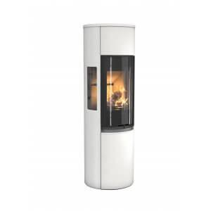 Contura 596G  style med sortcoated glaslåge, farve HVID og sideglas