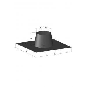 Termatech inddækning for tagpap eller skifertag  inkl. regnkrave - sort kegle