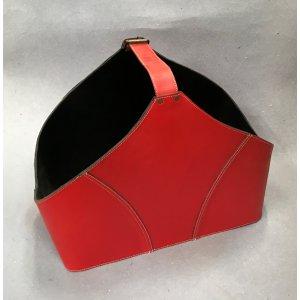 Brændekurv i ægte skind  Ferrari rød /  -50%